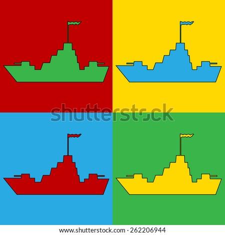 Pop art warship symbol icons. Vector illustration. - stock vector