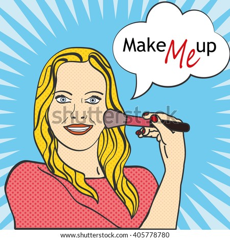 Pop Art Woman - Contains separate solid color and dot layers. Woman makes herself makeup.