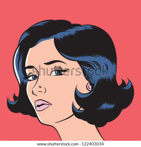 Pop Art Woman Illustration - Separate dot & solid color layers - stock vector