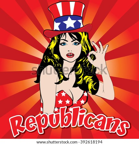 Pop Art Woman - REPUBLICANS! sign. vector illustration. Portrait of a woman pointing her finger to you. Election. Vote for America. - stock vector