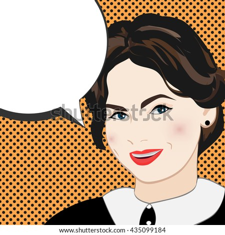 pop art woman smiles. girl in a comic book style bubble for text. vector illustration