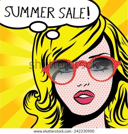 Pop Art Woman SUMMER SALE! sign. vector illustration. - stock vector