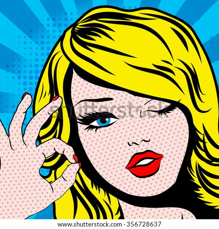 Pop Art Woman winks. vector illustration. Happy Winking blond young woman.