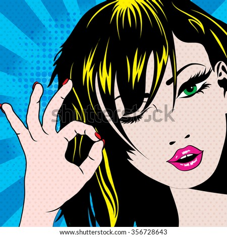 Pop Art Woman winks. vector illustration. Winking young woman.