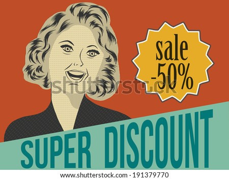 pop art woman with message, commercial retro clipart illustration - stock vector