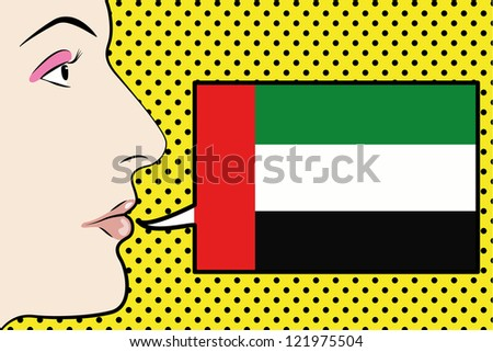 Pop Art Womans Face with the flag of the United Arab Emirates in a speech bubble - stock vector