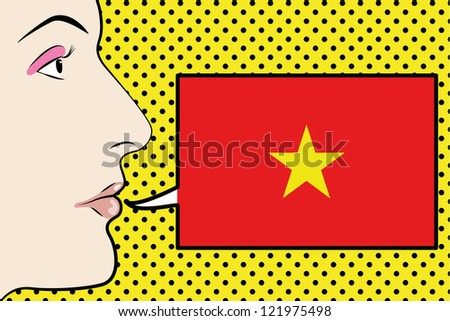 Pop Art Womans Face with the flag of Vietnam in a speech bubble - stock vector