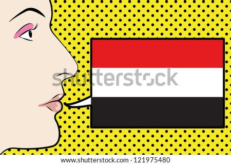 Pop Art Womans Face with the flag of Yemen in a speech bubble - stock vector