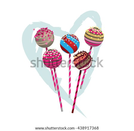 Pop cakes with heart - stock vector
