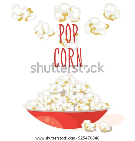 Pop Corn in a red bowl. Flat vector. Popcorn illustration, isolated on white background