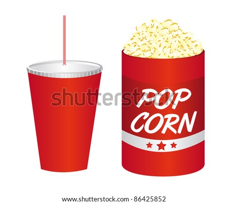 pop corn with beverage isolated over white background. vector