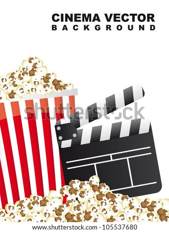pop corn with clapper board, cinema. vector illustration - stock vector