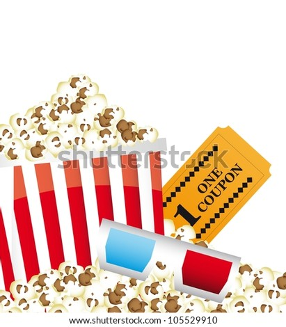 pop corn with 3d glasses and ticket. vector illustration - stock vector