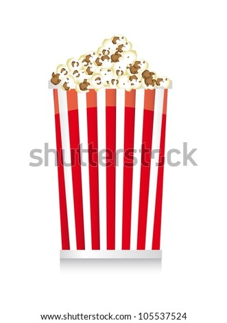 pop corn with shadow over white background. vector  illustration - stock vector