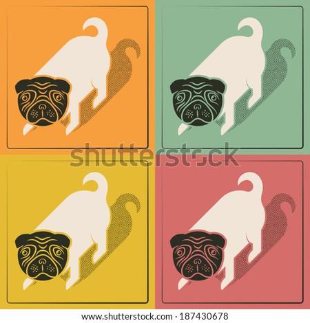 Pop cute little dog vintage print - stock vector