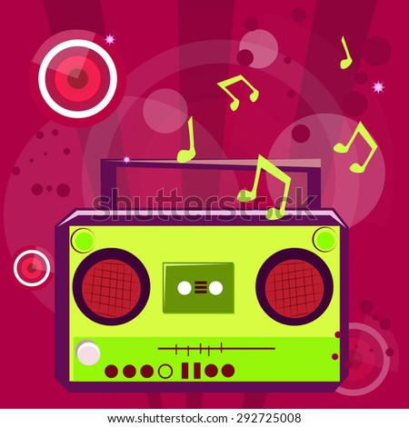 Pop music background with musical note and retro casette player.