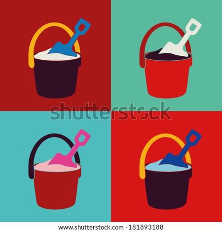 pop pail and shovel toys set - stock vector