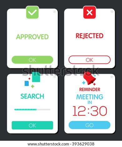 Pop-up window. Push notifications. Web design element. Search, reminder Pop-up window. Approve and rejected Popup window. - stock vector