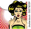 Popart comic 1 Love Vector illustration of surprised woman face - stock vector