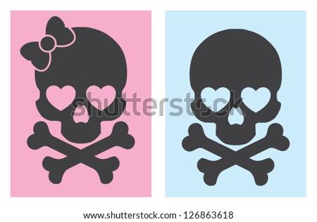 popart skulls - stock vector