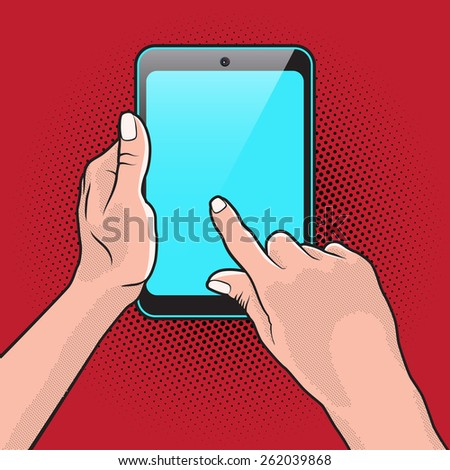 PopArt Style Mokup with Tablet PC in Hand - stock vector