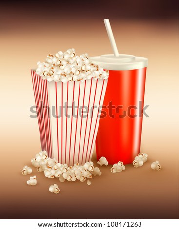 Popcorn and a drink.  Vector illustration.