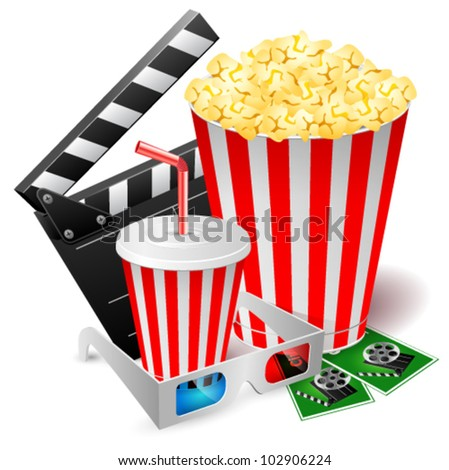 Popcorn and drink with 3d glasses and clapper. Vector illustration - stock vector