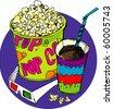 popcorn and soda - stock vector