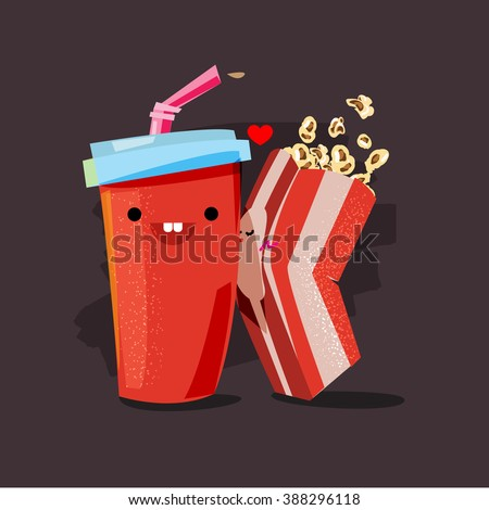 popcorn and soda. character of popcorn box kissing soda cup. movie lover concept - vector illustration - stock vector