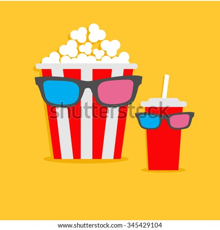 Popcorn box and soda glass Characters in 3D glasses. Cinema icon Flat design style. Vector illustration - stock vector