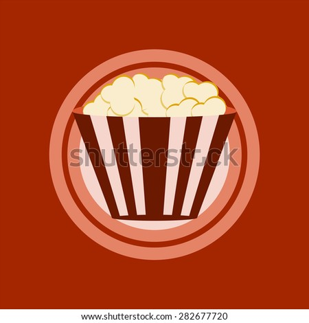 Popcorn  box. Cinema icon in flat design style. plate concept. - stock vector