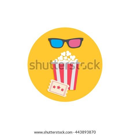 Popcorn box, 3D glasses and ticket. Cinema Movie round icon in flat design style. Vector illustration - stock vector