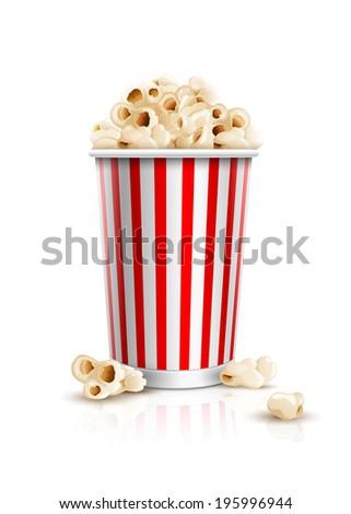 Popcorn box. Detailed vector illustration. Isolated on white background. EPS10 file. - stock vector