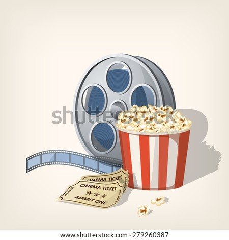 Popcorn box, film strip and tickets. Cinema Poster Design Template. Vector illustration