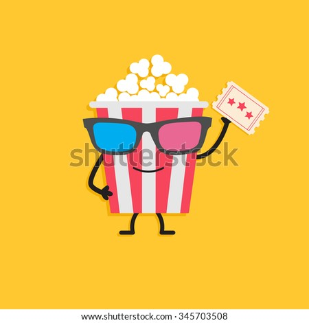 Popcorn box in 3D glasses. Character with face, legs and hand holding ticket. Cinema icon Flat design style. Vector illustration - stock vector