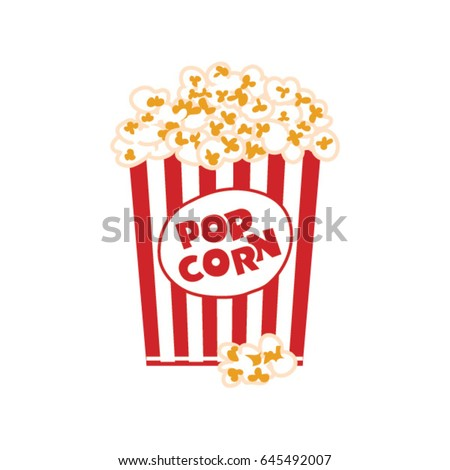 Popcorn box isolated on white. Vector illustration