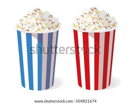 Popcorn boxes. Vector Popcorn isolated on white background..