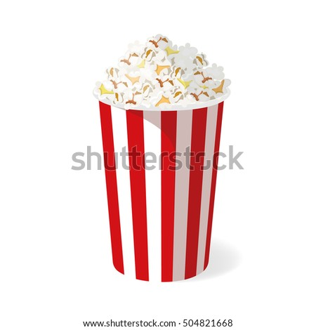 Popcorn bucket isolated on white background. Vector illustration.