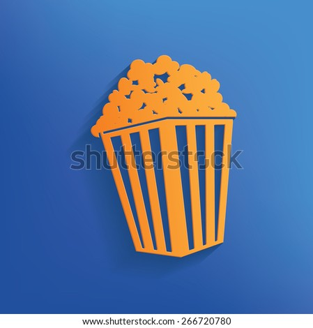 Popcorn design on blue background,clean vector - stock vector
