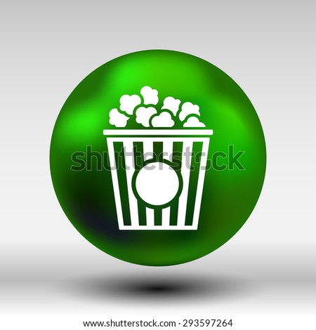Popcorn design on blue background,clean vector logo. - stock vector