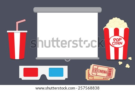Popcorn, disposable cup for beverages with straw, clapper board and ticket. Cinema Poster Design Template. - stock vector