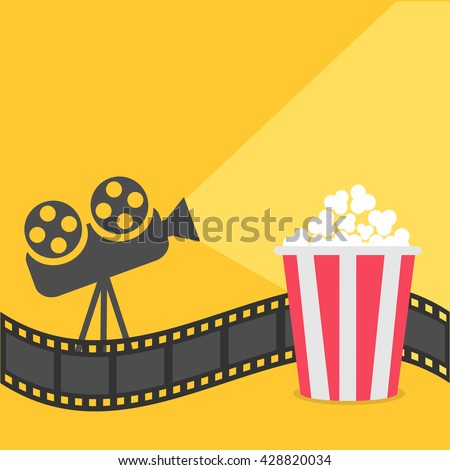 Popcorn. Film strip border. Cinema projector with ray of light. Cinema movie night icon in flat design style. Yellow background.  Vector illustration - stock vector
