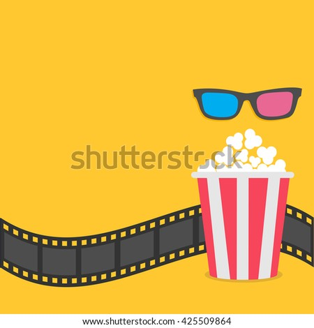 Popcorn. Film strip border. 3D glasses Red striped box. Cinema movie night icon in flat design style. Yellow background. Vector illustration - stock vector