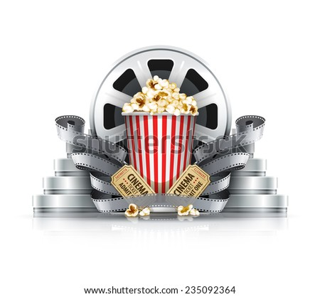 Popcorn film-strips and disks with cinema tickets to movie theater. Eps10 vector illustration. Isolated on white background - stock vector