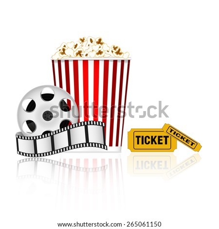 Popcorn, film tape and tickets