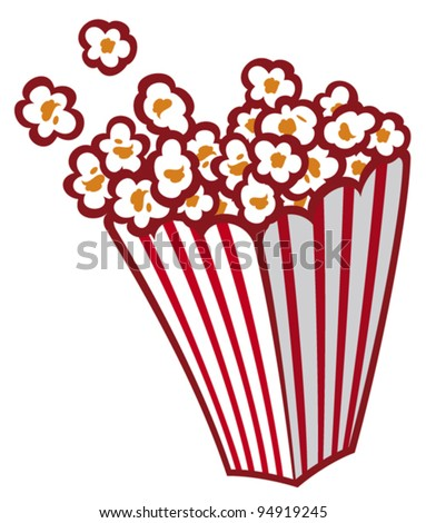 Popcorn in a striped tub - stock vector