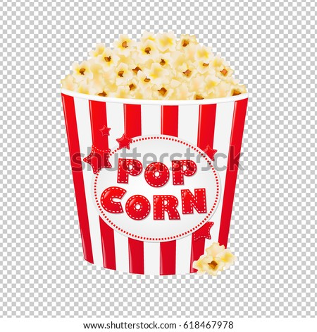 Popcorn In Cardboard Box Gradient Mesh, Vector Illustration