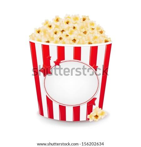Popcorn In Cardboard Box With Gradient Mesh, Vector Illustration - stock vector