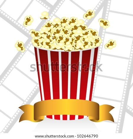 popcorn on movie tape background, vector illustration - stock vector