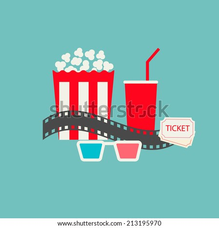 Popcorn, soda with straw, tickets  and filmstrip. Cinema icons set in flat design style, vector illustration - stock vector